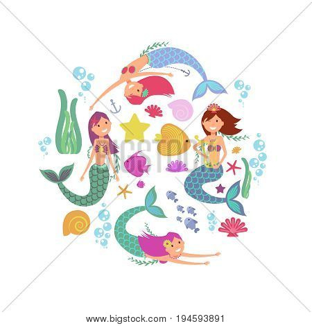 Cartoon swimming mermaids and sea underwater animals vector collection. Cartoon underwater mermaid, fish and sea star illustration
