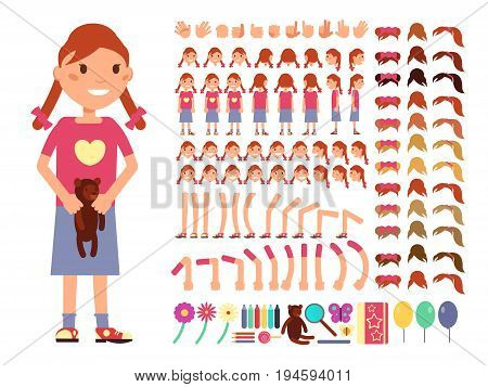 Cartoon cute little girl character. Vector creation constructor with different emotions and body parts. Female emotion and creation body constructor, gesture and pose illustration