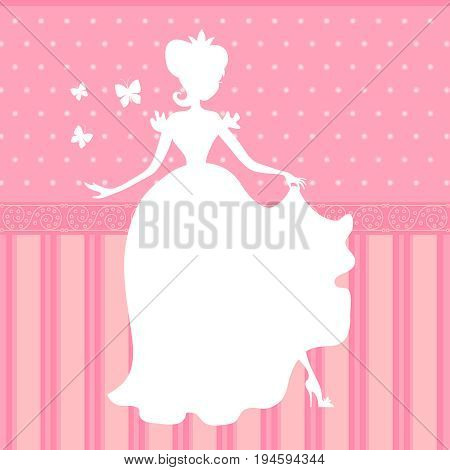 Retro vector pink background with little beautiful princess silhouette. Illustration of girl princess silhouette, beauty woman dress