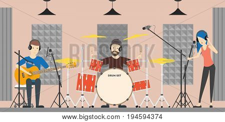 Music recording studio. Music band with drums, guitsr and singer records new song.
