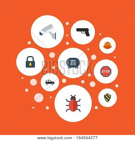 Flat Icons Gun, Armored Car, Safe And Other Vector Elements. Set Of Security Flat Icons Symbols Also Includes Headwear, Camera, Trojan Objects.