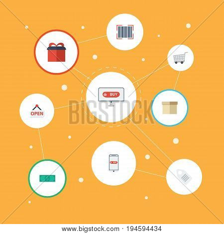 Flat Icons Cash, Shopping, Case And Other Vector Elements. Set Of Magazine Flat Icons Symbols Also Includes Label, Cash, Code Objects.