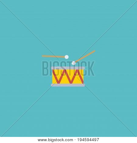 Flat Icon Drum Element. Vector Illustration Of Flat Icon Tambourine  Isolated On Clean Background. Can Be Used As Drum, Tambourine And Instrument Symbols.