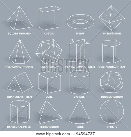 Abstract 3d math geometric outline shapes vector set. Geometry figure graphic pyramid and cuboid, torus and octahedron illustration