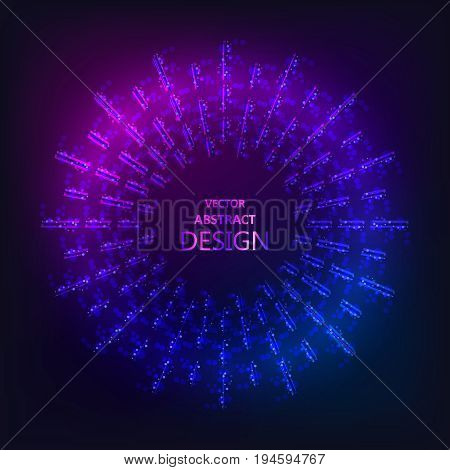 The sparkling neon banner.Flickering rays. Multi-colored bright framework. The shining geometrical figures. Design element. Abstract background. Vector illustration.