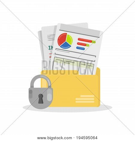 Documents security illustrations on white background. Papers with data and infographics.