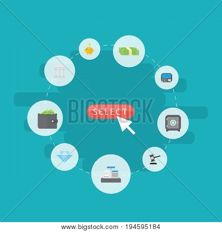 Flat Icons Strongbox, Money Box, Jewel Gem And Other Vector Elements. Set Of Banking Flat Icons Symbols Also Includes Bank, Wallet, Courthouse Objects.