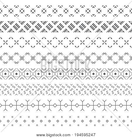 Set of vector geometrical dividers. Borders for the text invitation cards various printing editions. Dividing lines in the form of a seamless horizontal or vertical seamless pattern.