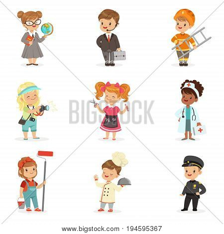 Set of cartoon professions for kids. Smiling little boys and girls in work wear vector illustrations isolated on a light blue background