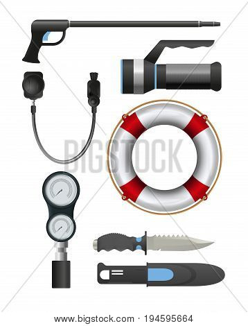 Set of diving equipment. Knife, speargun, flashlight, lifebuoy and other