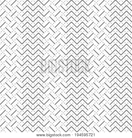 Vector seamless pattern. Trendy modern geometrical texture with regularly repetition thin lines zigzag strips small dots and dotted rhombuses. Contemporary design.