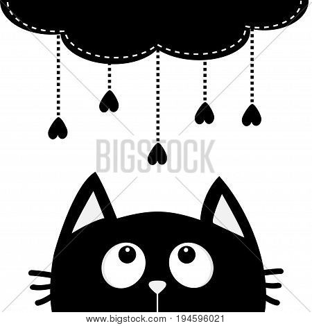 Black cat looking up to cloud with hanging heart rain drops. Dash line set. Cute cartoon character. Valentines Day. Kawaii animal. Love Greeting card. Flat design. White background Isolated. Vector