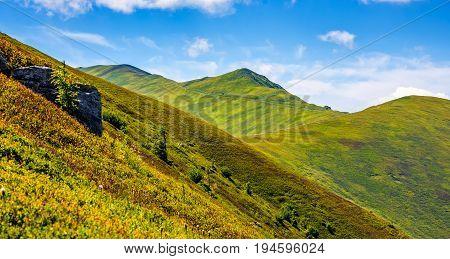 Mountain Ridge With Peak Behind The Hillside