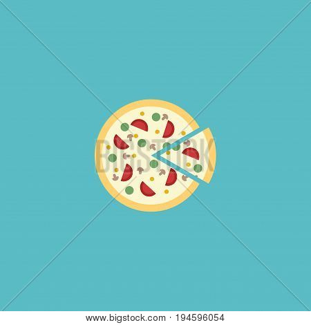 Flat Icon Pizza Element. Vector Illustration Of Flat Icon Pepperoni Isolated On Clean Background. Can Be Used As Pizza, Pizzeria And Pepperoni Symbols.