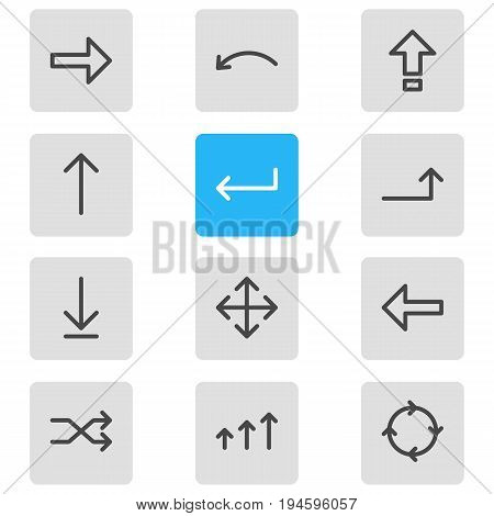 Vector Illustration Of 12 Direction Icons. Editable Pack Of Undo, Direction, Turn And Other Elements.