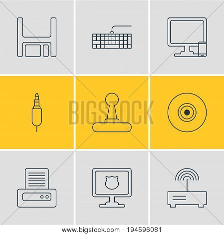 Vector Illustration Of 9 Computer Icons. Editable Pack Of Phone Near Computer, Antivirus, Input Jack And Other Elements.