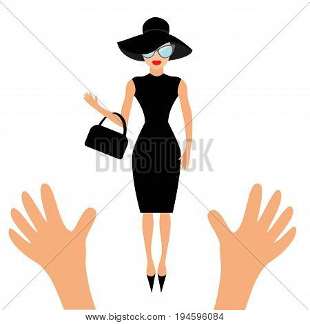 Hands reaching to woman in black hat bag and sunglasses. Rich and beautiful celebrity girl. Beauty fashion model face red lips. People collection Cute cartoon character Flat White background Vector