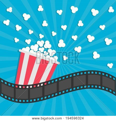 Popcorn popping. Cinema movie icon in flat design style. Film strip border. Red yellow strip box. Blue star burst sunburst wave background Vector illustration