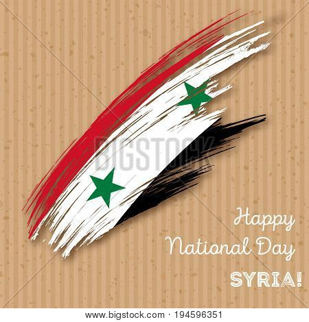 Syria Independence Day Patriotic Design. Expressive Brush Stroke In National Flag Colors On Kraft Pa