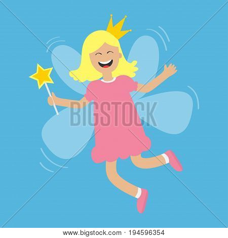 Tooth fairy flying wings. Smiling teeth mouth. Happy girl holding star magic wand. Cute baby teeth cartoon laughing character in dress crown Smiling woman Blue background Isolated Flat design Vector