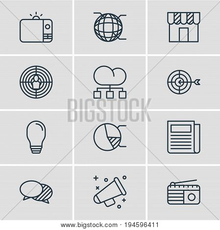 Vector Illustration Of 12 Advertising Icons. Editable Pack Of Fm Broadcasting, Goal, Discussing And Other Elements.