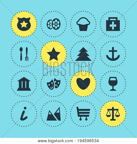Vector Illustration Of 16 Location Icons. Editable Pack Of Film, Heart, Shopping Cart And Other Elements.