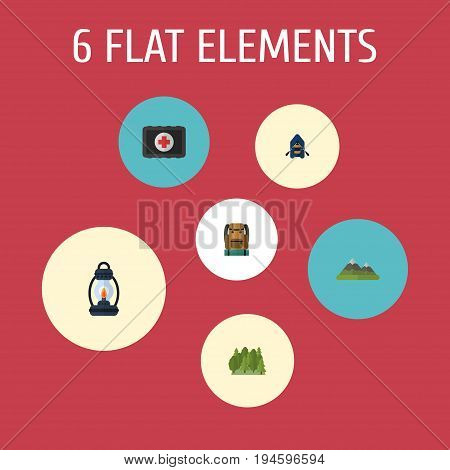 Flat Icons Bag, Wood, Ship And Other Vector Elements. Set Of Encampment Flat Icons Symbols Also Includes Lighter, Boat, Chest Objects.