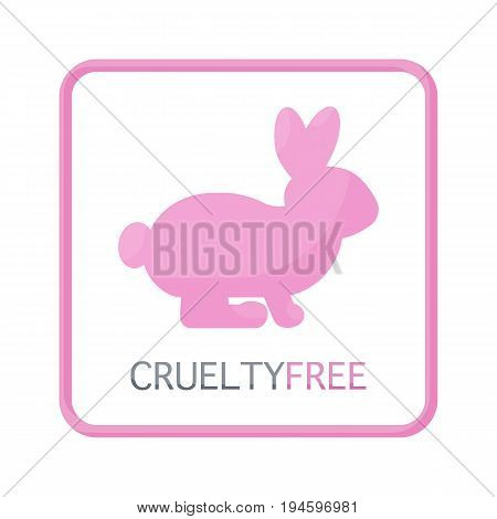 Cruelty free vector flat icon Flat design of rabbit or bunne with text about product not testing on animals isolated on the white background cute vector illustration with reflections