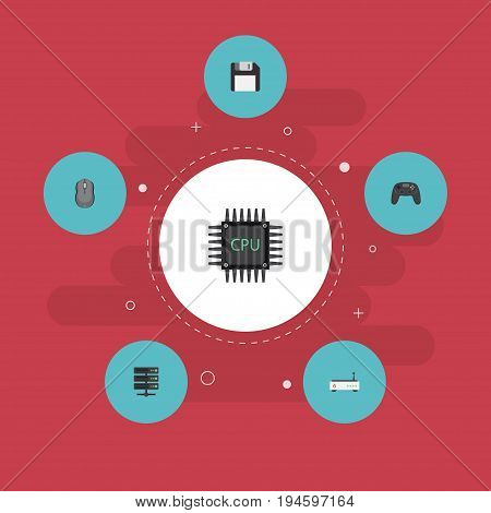Flat Icons Router, Diskette, Controller And Other Vector Elements. Set Of Laptop Flat Icons Symbols Also Includes Floppy, Controller, Microprocessor Objects.