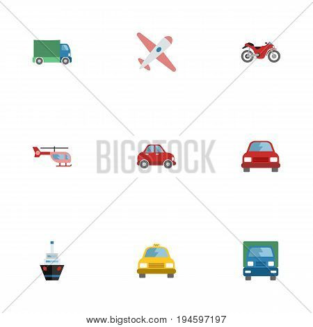 Flat Icons Lorry, Chopper, Aircraft And Other Vector Elements. Set Of Auto Flat Icons Symbols Also Includes Car, Vessel, Lorry Objects.