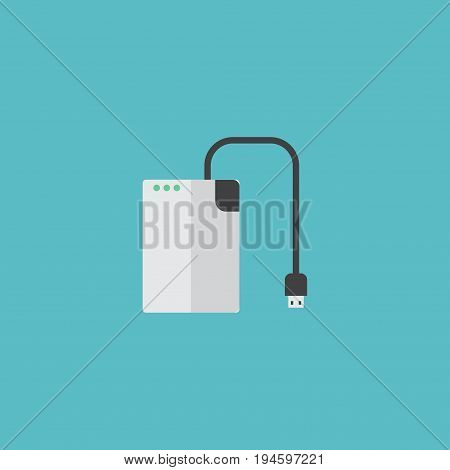 Flat Icon Hard Drive Element. Vector Illustration Of Flat Icon Storage Device Isolated On Clean Background. Can Be Used As Storage, Drive And Cable Symbols.