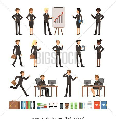 Characters design set business people man and woman, office workers directors, professional teams. Mascots in different action poses. Character professional employee and manager worker illustration