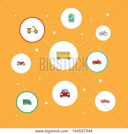 Flat Icons Scooter, Automobile, Lorry And Other Vector Elements. Set Of Vehicle Flat Icons Symbols Also Includes Electric, Vehicle, Motorcycle Objects.