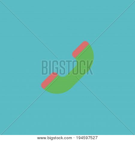 Flat Icon Handset Element. Vector Illustration Of Flat Icon Telephone Isolated On Clean Background. Can Be Used As Handset, Telephone And Phone Symbols.