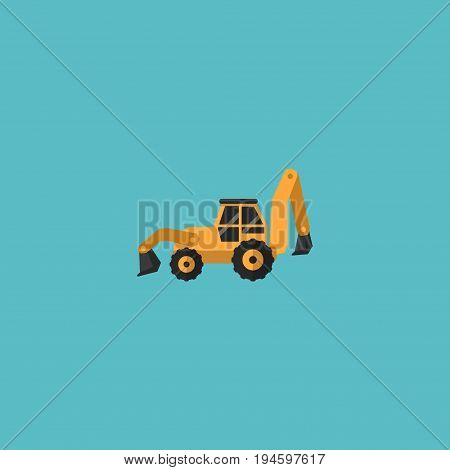 Flat Icon Tractor Backhoe Loader Element. Vector Illustration Of Flat Icon Excavator Isolated On Clean Background. Can Be Used As Tractor, Backhoe And Loader Symbols.