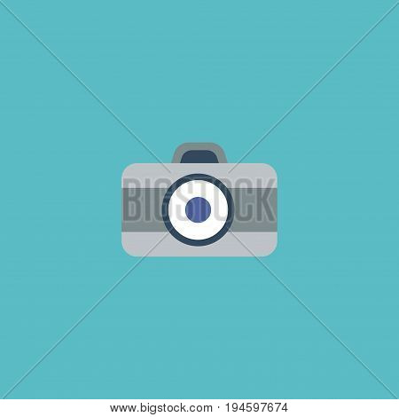 Flat Icon Dslr Camera Element. Vector Illustration Of Flat Icon Photo Isolated On Clean Background. Can Be Used As Photo, Camera And Dslr Symbols.