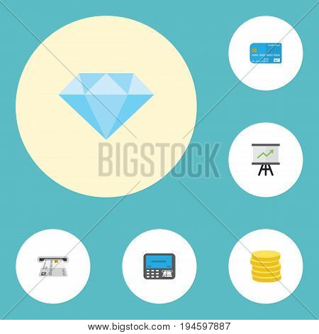 Flat Icons Atm, Payment, Jewel Gem And Other Vector Elements. Set Of Banking Flat Icons Symbols Also Includes Jewel, Machine, Credit Objects.