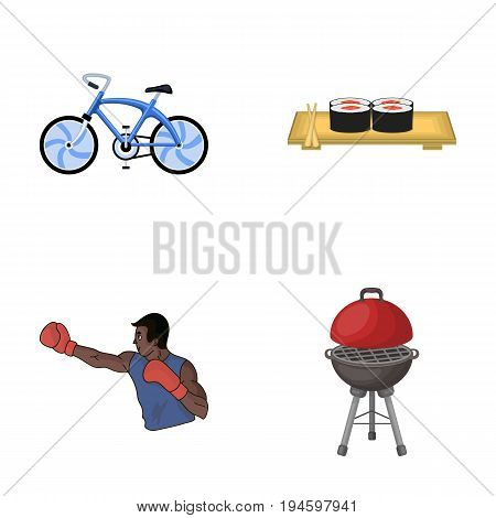 metal, business, restaurant and other  icon in cartoon style.sportsman, barbecue, rest, icons in set collection
