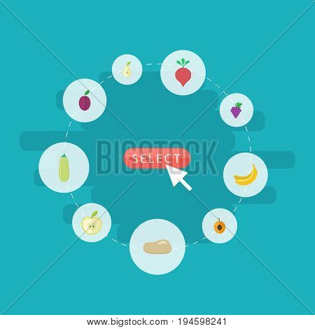 Flat Icons Cluster, Jonagold, Nectarine And Other Vector Elements. Set Of Berry Flat Icons Symbols Also Includes Praties, Root, Jonagold Objects.