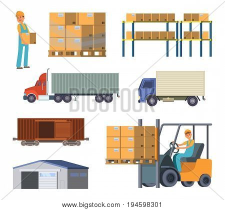 Warehouse and logistics processes. Worker with packages. Different specific cars. Vector delivery and logistic, illustration of warehouse and storage container