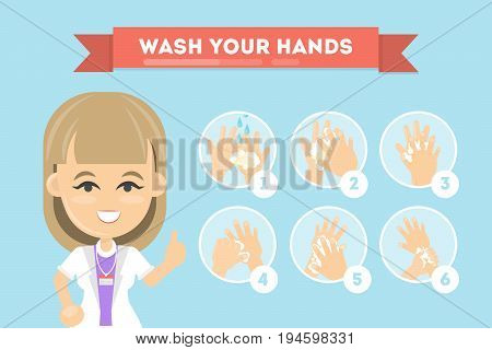 Wash your hands. Manual for cleaning hands from bacteriums.