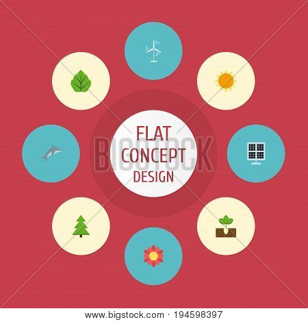 Flat Icons Sprout, Tree, Sunshine And Other Vector Elements. Set Of Green Flat Icons Symbols Also Includes Leaf, Gardening, Panel Objects.