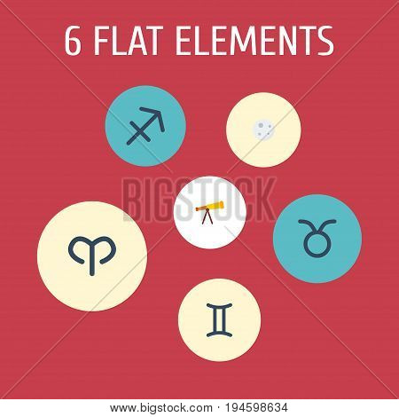 Flat Icons Optics, Twins, Bull And Other Vector Elements. Set Of Astrology Flat Icons Symbols Also Includes Binoculars, Telescope, Bull Objects.