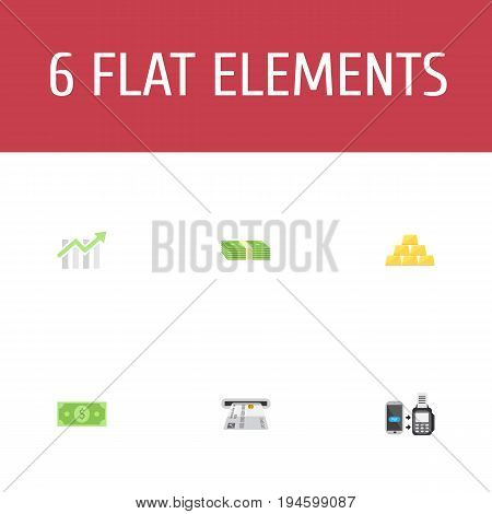 Flat Icons Teller Machine, Remote Paying, Bar Diagram And Other Vector Elements. Set Of Finance Flat Icons Symbols Also Includes Chart, Salary, Currency Objects.