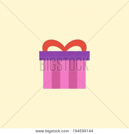 Flat Icon Gift Element. Vector Illustration Of Flat Icon Present Isolated On Clean Background. Can Be Used As Present, Gift And Surprise Symbols.