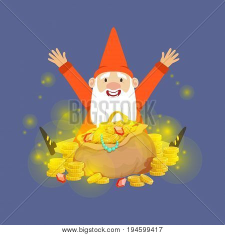 Cute happy dwarf sitting on a gold treasures vector Illustration on a blue background