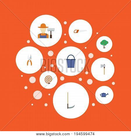 Flat Icons Green Wood, Pruner, Cutter And Other Vector Elements. Set Of Agriculture Flat Icons Symbols Also Includes Secateurs, Cutter, Scissors Objects.