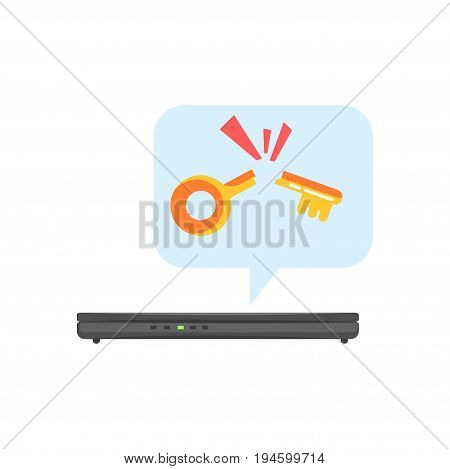 Hacked electronic device, cybersecurity cartoon vector Illustration isolated on a white background