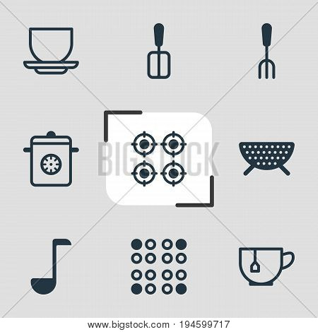 Vector Illustration Of 9 Cooking Icons. Editable Pack Of Sieve, Steamer, Soup Spoon And Other Elements.