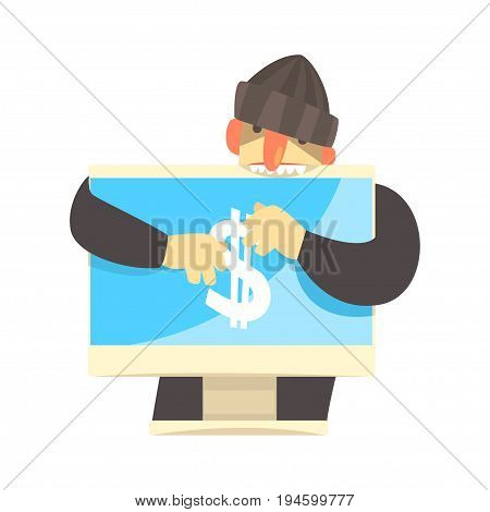 Cartoon hacker character stealing money from a personal computer,  cyber crime cartoon vector Illustration isolated on a white background